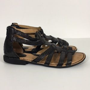 BOC Black Textured Gladiator Sandals